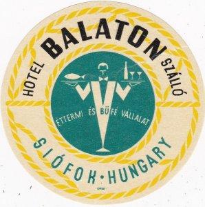 Hungary Siofok Hotel Balaton Vintage Luggage Label sk3643