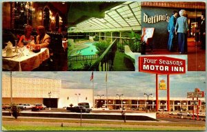 Albuquerque, New Mexico Postcard FOUR SEASONS MOTOR INN 3 Views Roadside c1960s