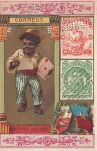 Trade Card (TC): Stamps & Boy w/ Letter , 1880-90s ; SOUTH AMERICA #3
