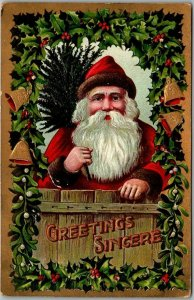Vintage 1910 Christmas Postcard SANTA CLAUS w/ Xmas Tree GREETINGS SINCERE