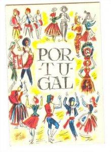 Bi-Fold Postcard , Portugal , 30-40s ; Restaurante FOLCLORE , Lisboa, map car...