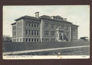 MCMINNVILLE OREGON LINCOLN HIGH SCHOOL BUILDING VINTAGE POSTCARD