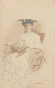 RP: ATLANTIC CITY , New Jersey, 1905 ; Studio Roller Chair prop portrait