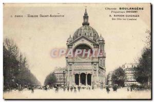 Paris Old Postcard - Church St Augustine