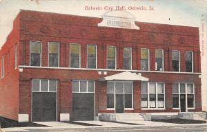 Oelwein Iowa~Closeup of City Hall Facade~Fire Department~Police Station c1910