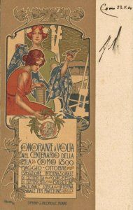 Onoranze a Volta Nel Centenario Della Pila Como 1899 Art Nouveau 04.28