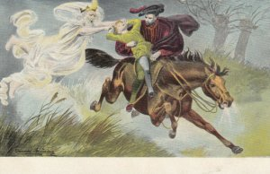 Ghost chases man & boy on Horse , 1901-07