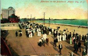 Vtg Carte Postale 1908 Atlantic Ville Neuf Jersey Nj Après-midi sur Le Boardwalk
