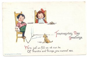Thanksgiving Girl Boy Feeding Puppy Dog from Table Artist Brundage Postcard 1913