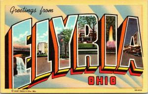 Elyria Ohio~Large Letter Linen Postcard~Electric Fountain~Night Lights~1943