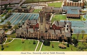 Toledo Ohio~Aerial View~University Hall~Toledo University~Clock Tower 1950s PC