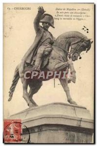 Old Postcard Cherbourg Statue Of Napoleon 1st