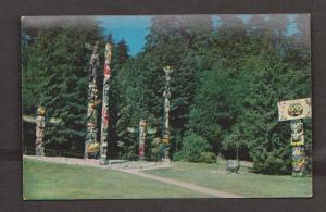 Hand-carved Totem Poles, Stanley Park, Vancouver, BC - Unused c1960