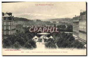Old Postcard Pau plunging view on Place Royale And The Chain