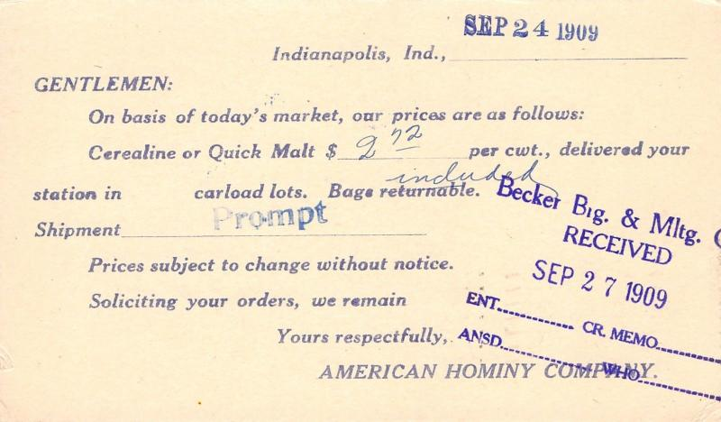 Indianapolis~American Hominy Co Current Prices Postal~Cerealine~Quick Malt 1909