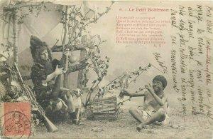 Children  Le Petit Robinson  series early postcard rifle dog costume parrot