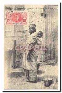 Senegal Saint Louis Old Postcard A mother and son