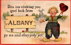 New York Albany Dutch Boy Dis Iss Vishing You Goot Luck 1913