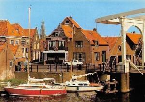 Netherlands Enkhuizen, Blauwpoortsbrug, Blue Gate Bridge, River Boats, Auto Car