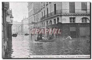Old Postcard Paris Floods in January 1910 Flood of the Seine Streets of Burgu...