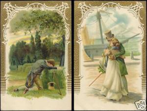 Love Romance Victorian Couple 2x pc (ca. 1899) Embossed