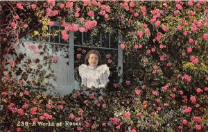 13473  Child looking out window surrounded by wall of roses