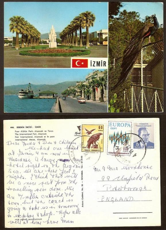 TURKEY VINTAGE POSTCARD/STAMP IZMIR