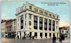 Richmond, Indiana Postcard New Second National Bank Building Street View 1919