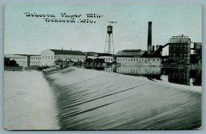 Nekoosa Wisconsin~CU Williams~Water Tower & Smokestack~Dam & Paper Mill 1914