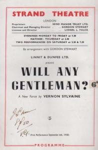 Vernon Sylvaine Will Any Gentleman Comedy The Strand London Theatre  Programme