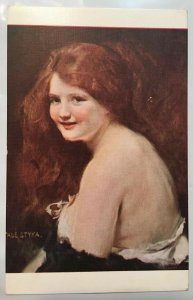 Tade Styka Red Hair Girl Postcard