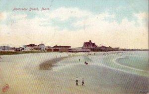 PEOPLE AND BATHERS WALKING ON NANTASKET BEACH, MA 1909