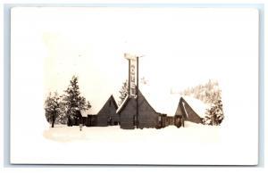 Postcard Gateway Motel, Truckee, CA Winter Scene 1926-1940's RPPC H11