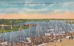Florida Tarpon Springs Sponge Fleet At The Docks and Anclote River 1954