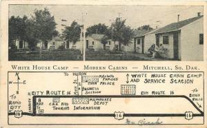 1938 White House Camp Mitchell South Dakota Roadside Herold postcard 11889