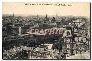 Postcard Old Paris Panorama of the Seven Bridges