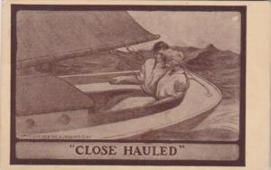Romantic Couple In Sailboat Close Hauled 1914