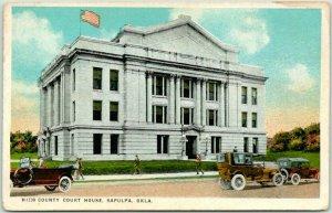 SAPULPA, Oklahoma Postcard COUNTY COURT HOUSE Fred Harvey #H1730 / c1920s