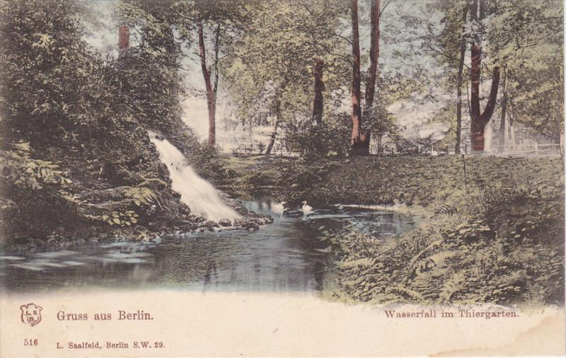 GRUSS AUS BERLIN, Germany, 1900-1910's; Wasserfall Im Thiergarten