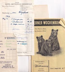 Berner Wochenbulletin Bern Swiss Hotel Receipt 3x Ephemera
