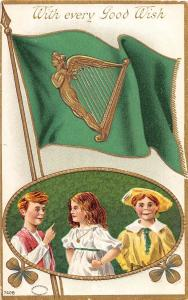 D44/ St Patrick's Day Holiday Postcard c1910 Belleville Illinois Flag Kids 5