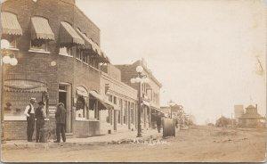 Railway Avenue North Battleford SK Saskatchewan c1913 W. Fyfe RPPC Postcard E73