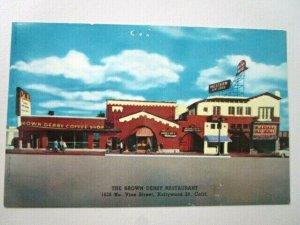 Hollywood CA, The Brown Derby Restaurant, Chrome California Postcard -D-16