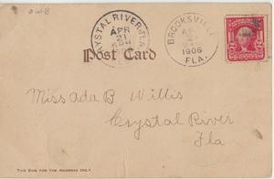 BROOKSVILLE FL - 1906 postal cancel on COMIC CARD from The DAM FAMILY