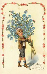 Victorian Boy Carries Exaggerated Forget-me-Not Bouquet~Gold Leaf~White Back~317