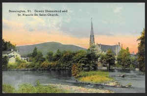 Dewey Homestead & St Francis De Sales Church Bennington Vermont Unused c1920s