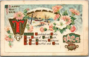 Vintage HAPPY NEW YEAR Embossed Postcard 365 Days of Good Luck? 1916 Cancel