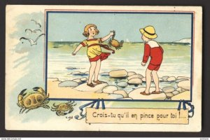 Boy looks as girl gets pinched by crab, birds beach - E. Droit artist