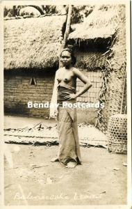 indonesia, BALI, Native Nude Balinese Woman in front of House (1920s) RPPC