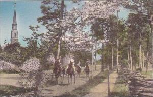 North Carolina Pinehurst Riders Near The Village Chapel Albertype